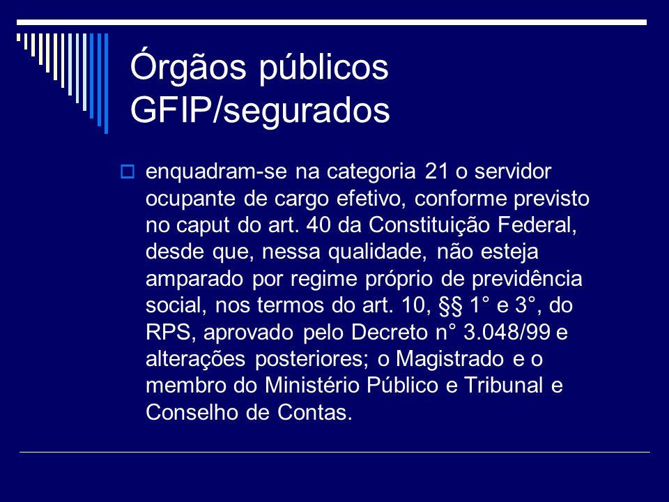 Órgãos públicos GFIP/segurados enquadram-se na categoria 21 o servidor ocupante de cargo efetivo, conforme previsto no caput do art. 40 da Constituiçã
