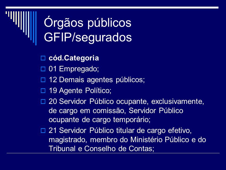 Órgãos públicos GFIP/segurados cód.Categoria 01 Empregado; 12 Demais agentes públicos; 19 Agente Político; 20 Servidor Público ocupante, exclusivament