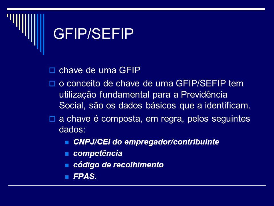 GFIP/SEFIP chave de uma GFIP o conceito de chave de uma GFIP/SEFIP tem utilização fundamental para a Previdência Social, são os dados básicos que a id