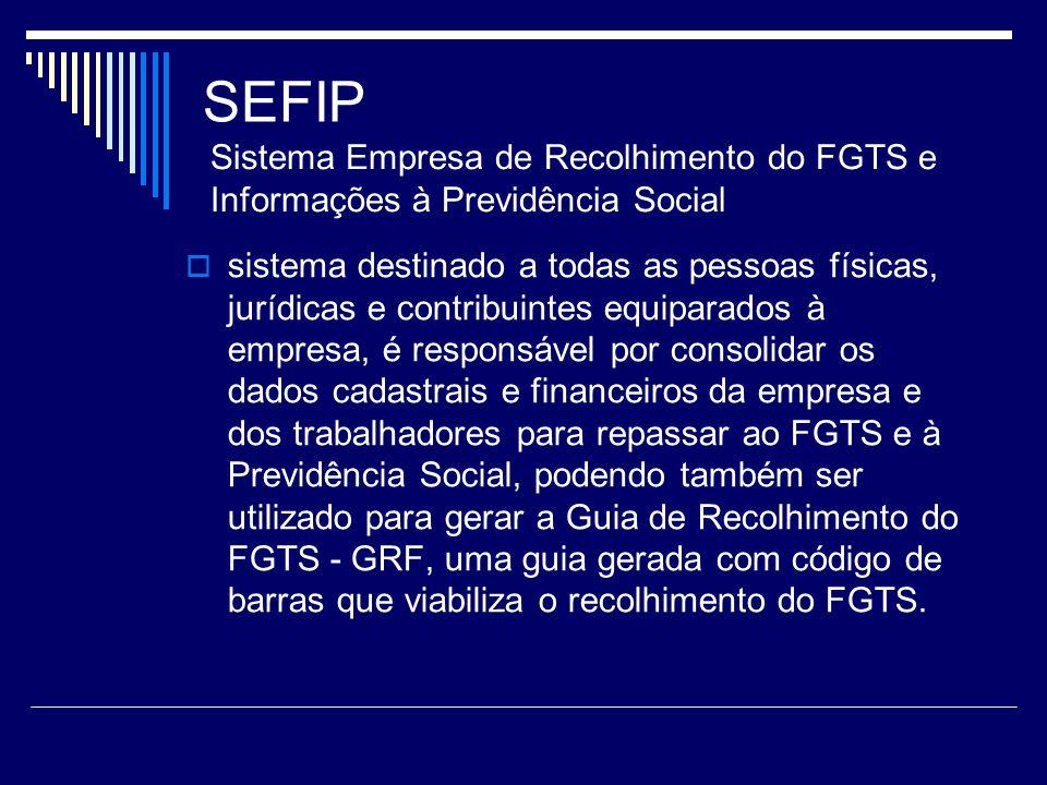 SEFIP sistema destinado a todas as pessoas físicas, jurídicas e contribuintes equiparados à empresa, é responsável por consolidar os dados cadastrais
