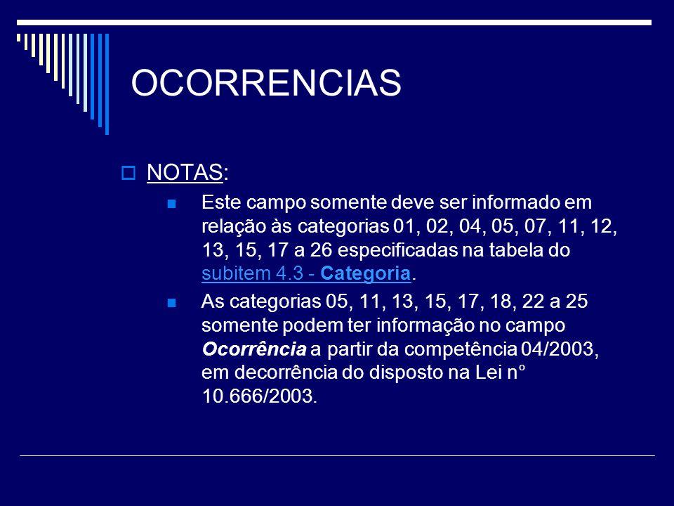 OCORRENCIAS NOTAS: Este campo somente deve ser informado em relação às categorias 01, 02, 04, 05, 07, 11, 12, 13, 15, 17 a 26 especificadas na tabela