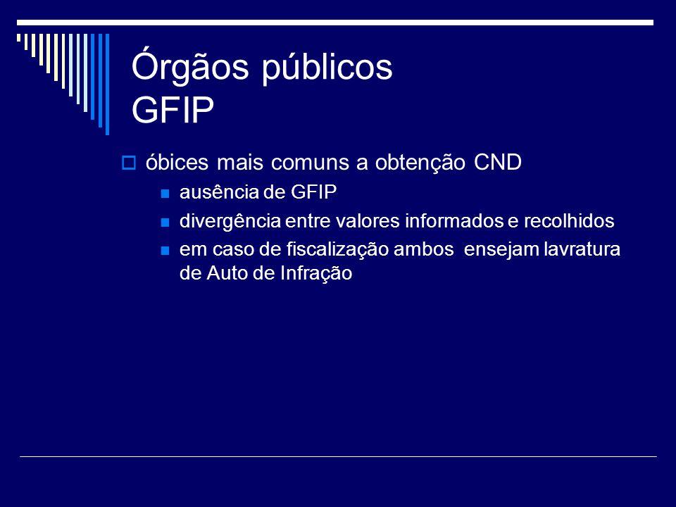 Órgãos públicos GFIP óbices mais comuns a obtenção CND ausência de GFIP divergência entre valores informados e recolhidos em caso de fiscalização ambo