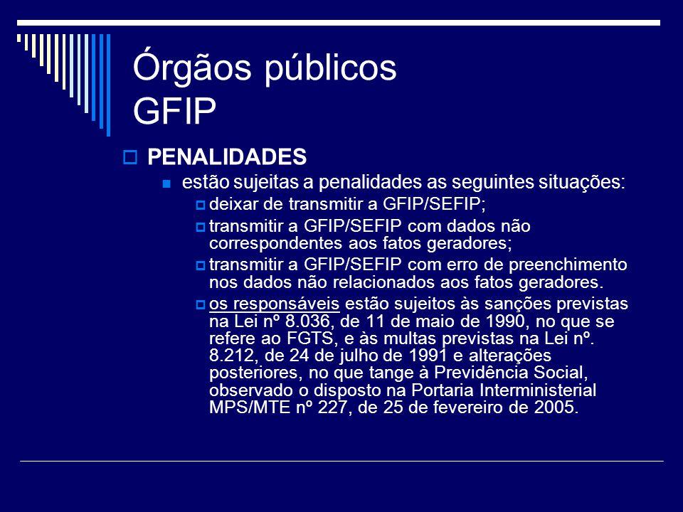 Órgãos públicos GFIP PENALIDADES estão sujeitas a penalidades as seguintes situações: deixar de transmitir a GFIP/SEFIP; transmitir a GFIP/SEFIP com d