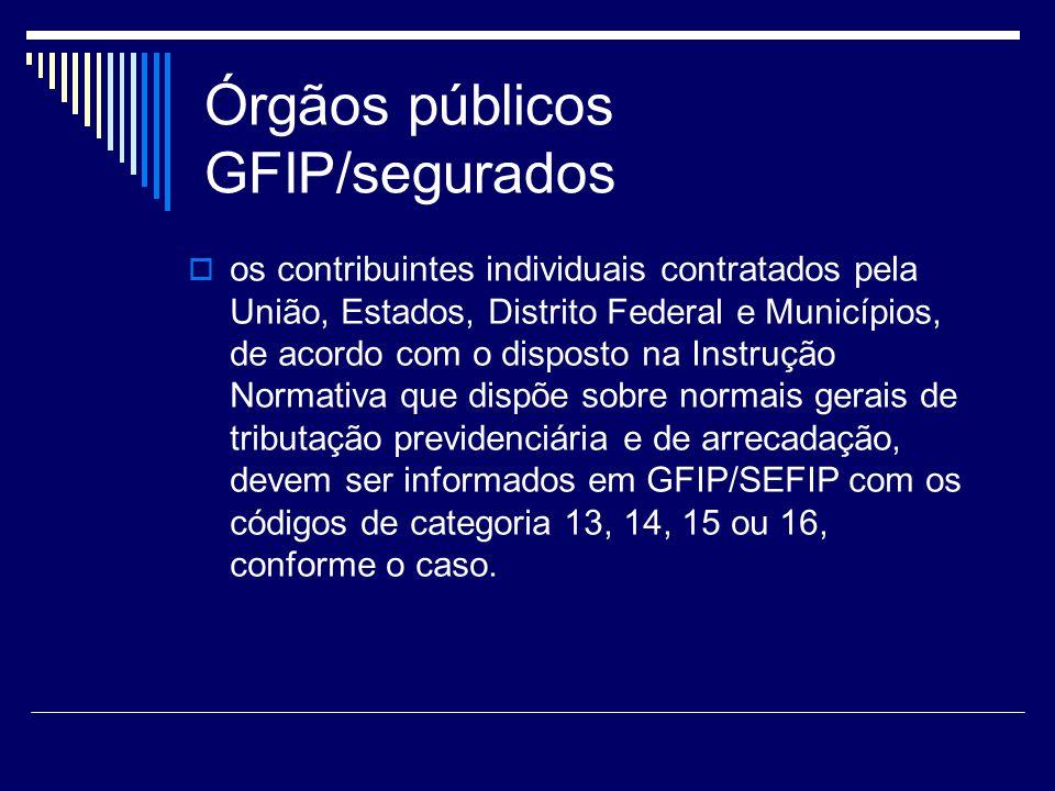 Órgãos públicos GFIP/segurados os contribuintes individuais contratados pela União, Estados, Distrito Federal e Municípios, de acordo com o disposto n