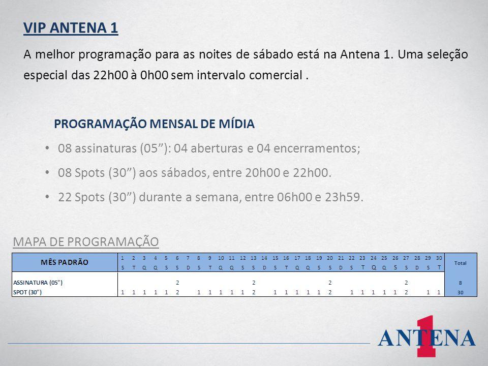 VIP ANTENA 1 A melhor programação para as noites de sábado está na Antena 1. Uma seleção especial das 22h00 à 0h00 sem intervalo comercial. PROGRAMAÇÃ