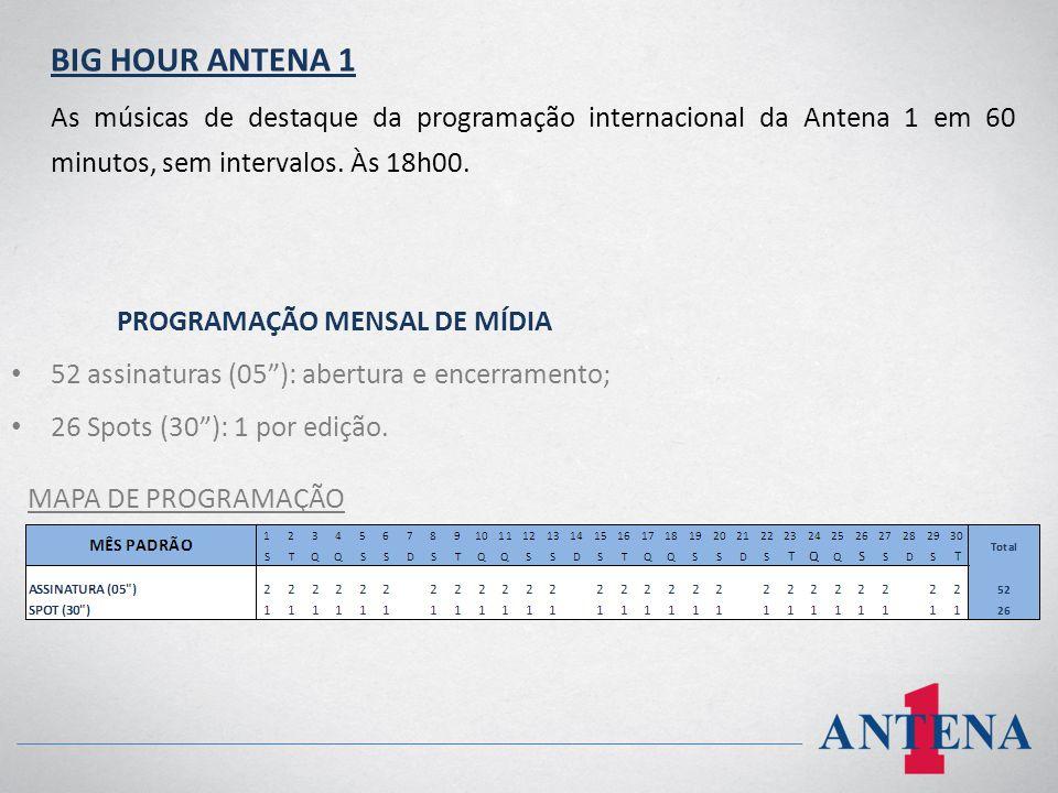 BIG HOUR ANTENA 1 As músicas de destaque da programação internacional da Antena 1 em 60 minutos, sem intervalos. Às 18h00. PROGRAMAÇÃO MENSAL DE MÍDIA
