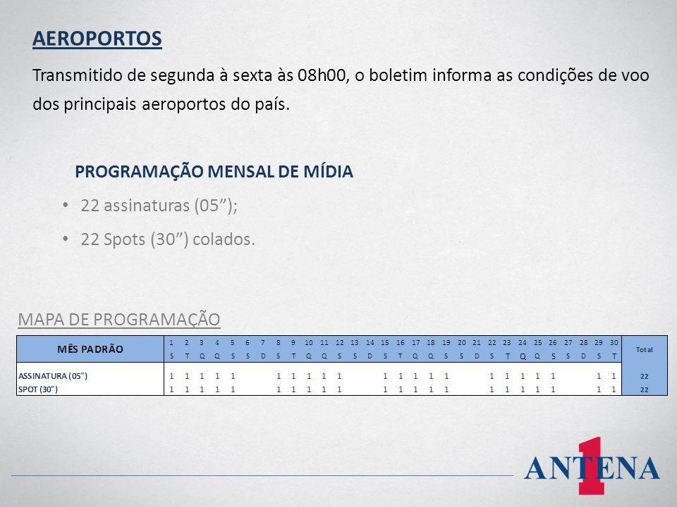 AEROPORTOS Transmitido de segunda à sexta às 08h00, o boletim informa as condições de voo dos principais aeroportos do país. PROGRAMAÇÃO MENSAL DE MÍD