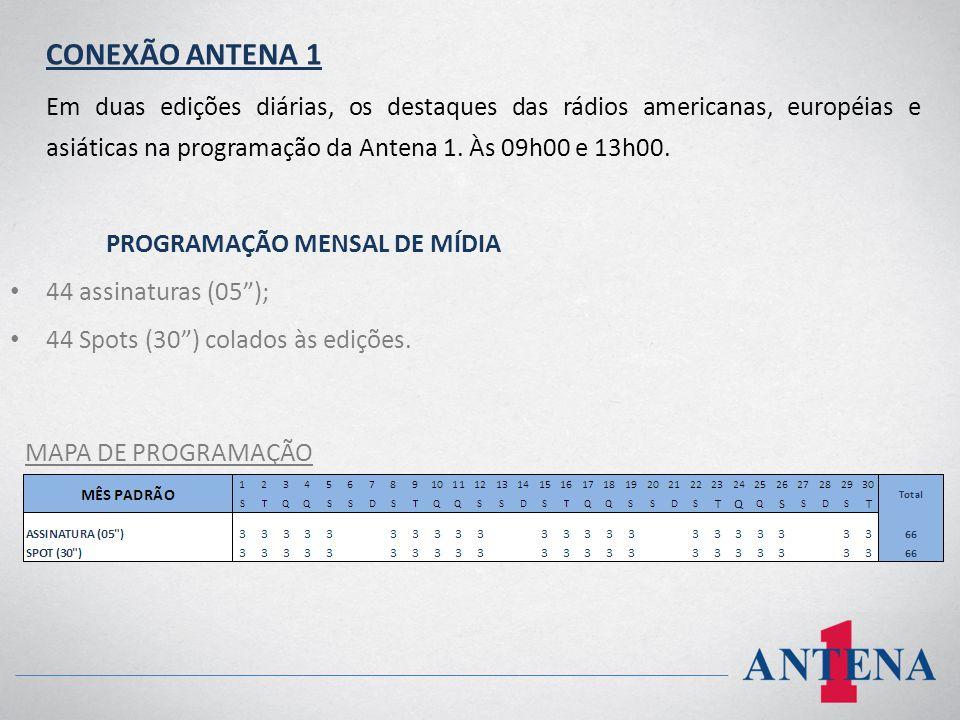 CONEXÃO ANTENA 1 Em duas edições diárias, os destaques das rádios americanas, européias e asiáticas na programação da Antena 1. Às 09h00 e 13h00. PROG
