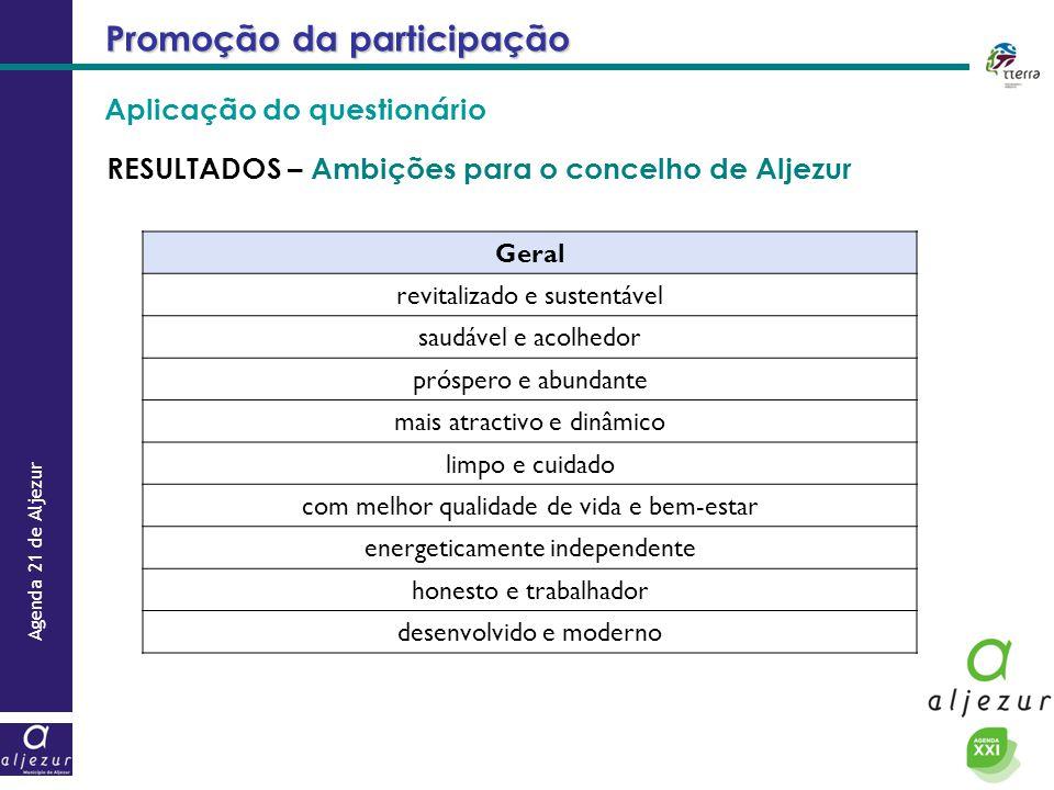 Agenda 21 de Aljezur Promoção da participação RESULTADOS – Ambições para o concelho de Aljezur Geral revitalizado e sustentável saudável e acolhedor p