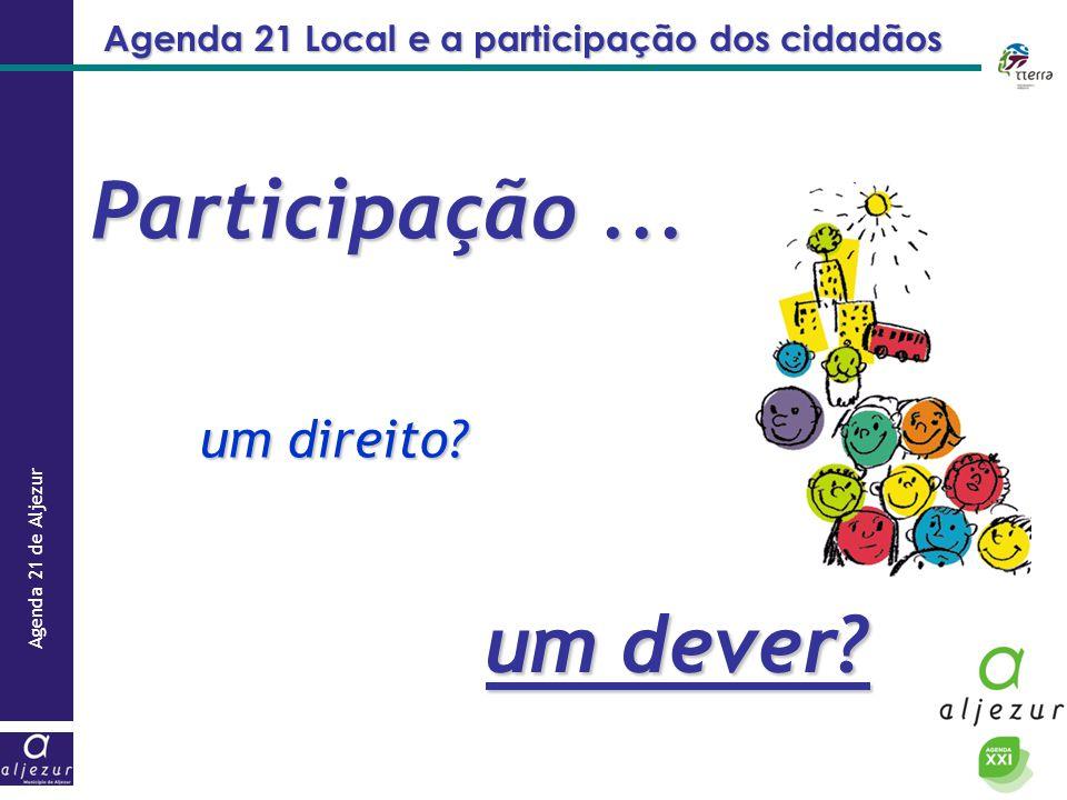 Agenda 21 de Aljezur Agenda 21 Local e a participação dos cidadãos Participação... um direito? um dever?