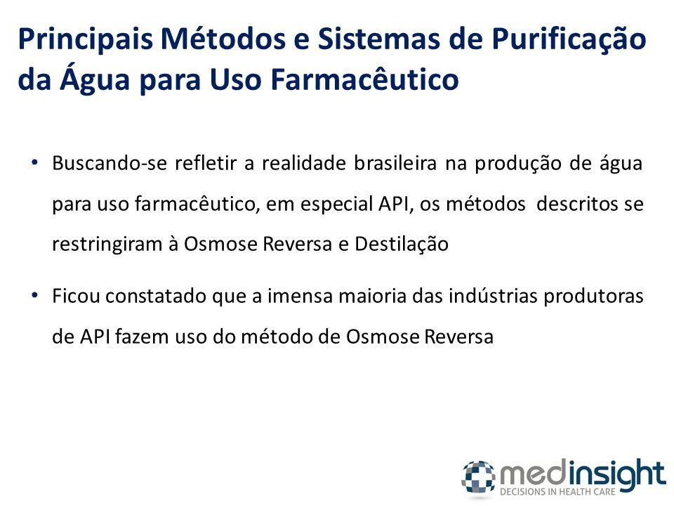 Buscando-se refletir a realidade brasileira na produção de água para uso farmacêutico, em especial API, os métodos descritos se restringiram à Osmose Reversa e Destilação Ficou constatado que a imensa maioria das indústrias produtoras de API fazem uso do método de Osmose Reversa Principais Métodos e Sistemas de Purificação da Água para Uso Farmacêutico