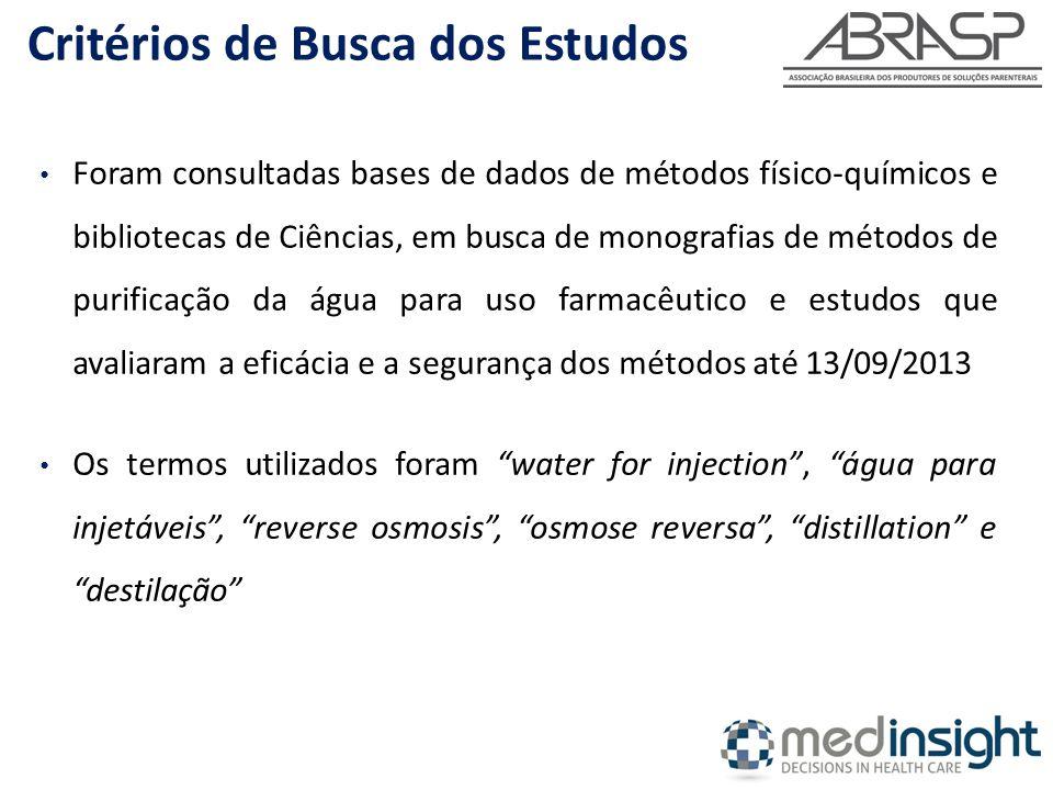 Foram consultadas bases de dados de métodos físico-químicos e bibliotecas de Ciências, em busca de monografias de métodos de purificação da água para