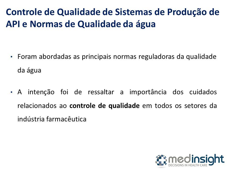 Foram abordadas as principais normas reguladoras da qualidade da água A intenção foi de ressaltar a importância dos cuidados relacionados ao controle de qualidade em todos os setores da indústria farmacêutica Controle de Qualidade de Sistemas de Produção de API e Normas de Qualidade da água