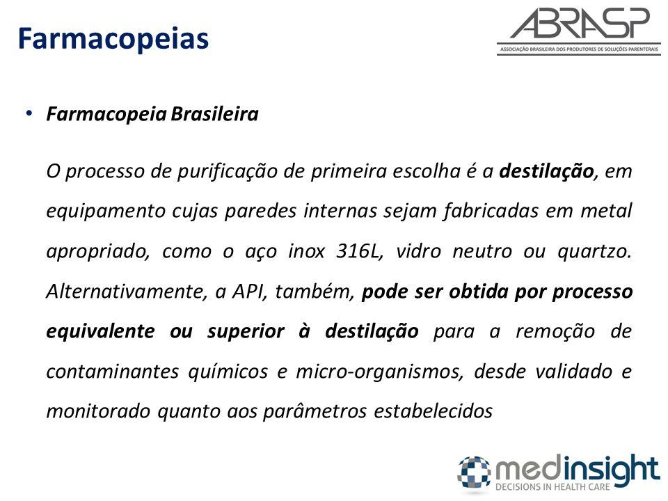 Farmacopeia Brasileira O processo de purificação de primeira escolha é a destilação, em equipamento cujas paredes internas sejam fabricadas em metal a