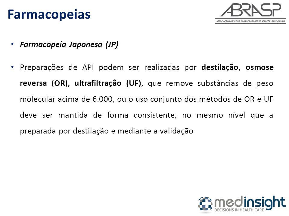 Farmacopeia Japonesa (JP) Preparações de API podem ser realizadas por destilação, osmose reversa (OR), ultrafiltração (UF), que remove substâncias de