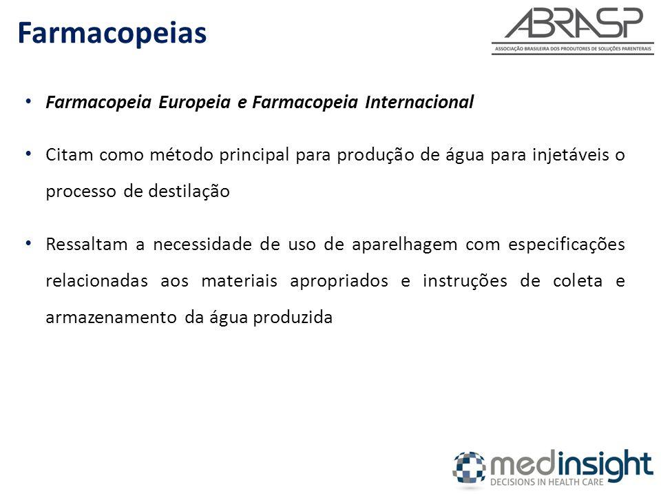 Farmacopeia Europeia e Farmacopeia Internacional Citam como método principal para produção de água para injetáveis o processo de destilação Ressaltam a necessidade de uso de aparelhagem com especificações relacionadas aos materiais apropriados e instruções de coleta e armazenamento da água produzida Farmacopeias