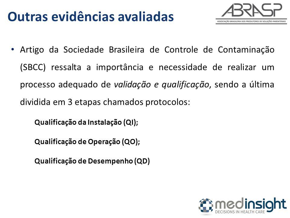 Artigo da Sociedade Brasileira de Controle de Contaminação (SBCC) ressalta a importância e necessidade de realizar um processo adequado de validação e qualificação, sendo a última dividida em 3 etapas chamados protocolos: Qualificação da Instalação (QI); Qualificação de Operação (QO); Qualificação de Desempenho (QD) Outras evidências avaliadas