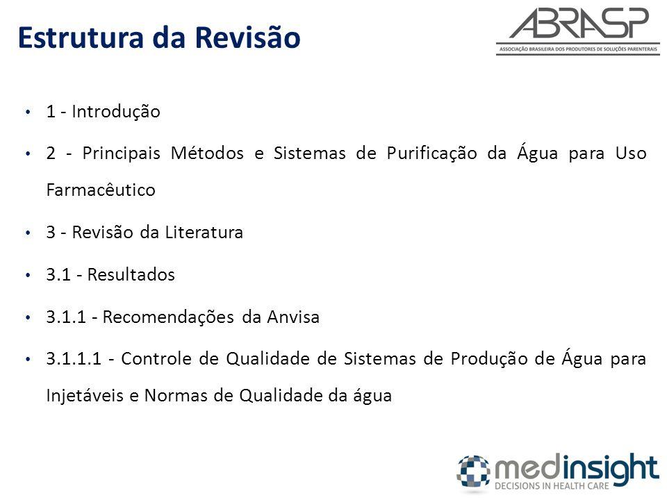 1 - Introdução 2 - Principais Métodos e Sistemas de Purificação da Água para Uso Farmacêutico 3 - Revisão da Literatura 3.1 - Resultados 3.1.1 - Recomendações da Anvisa 3.1.1.1 - Controle de Qualidade de Sistemas de Produção de Água para Injetáveis e Normas de Qualidade da água Estrutura da Revisão