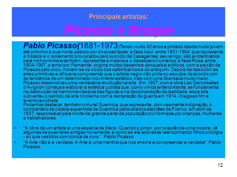 Principais artistas: Picasso e Braque Pablo Picasso(1881-1973 )Tendo vivido 92 anos e pintado desde muito jovem até próximo à sua morte passou por div