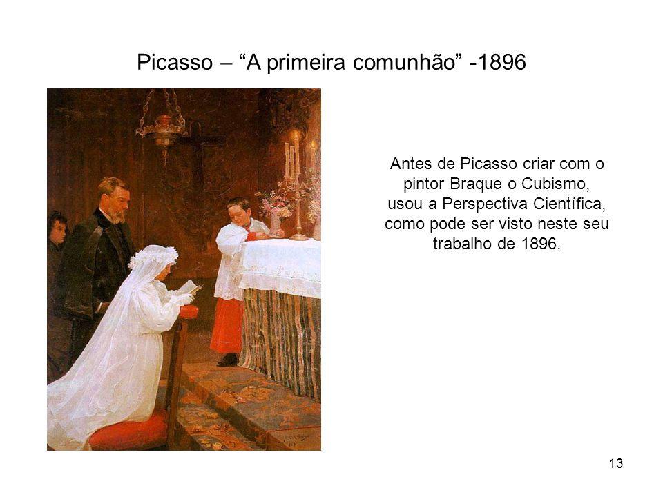 Picasso – A primeira comunhão -1896 Antes de Picasso criar com o pintor Braque o Cubismo, usou a Perspectiva Científica, como pode ser visto neste seu
