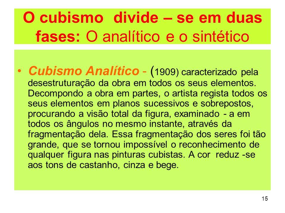 O cubismo divide – se em duas fases: O analítico e o sintético Cubismo Analítico - ( 1909) caracterizado pela desestruturação da obra em todos os seus