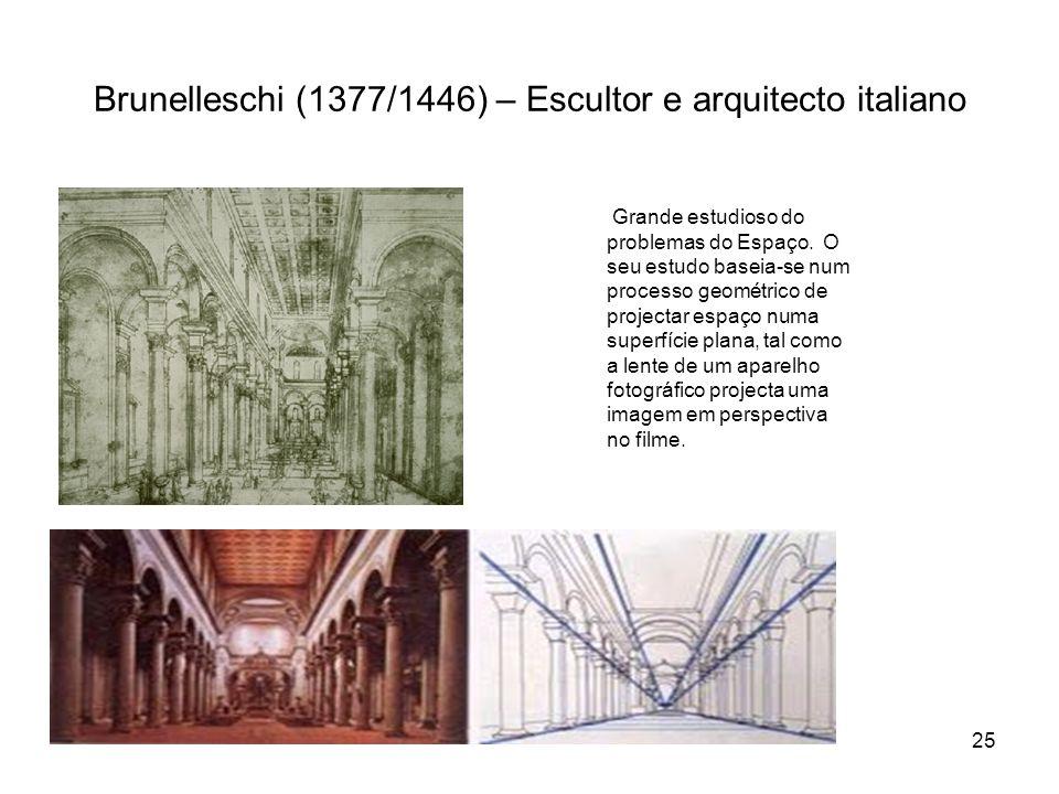 Brunelleschi (1377/1446) – Escultor e arquitecto italiano Grande estudioso do problemas do Espaço. O seu estudo baseia-se num processo geométrico de p
