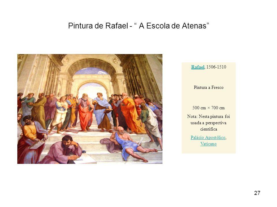 Pintura de Rafael - A Escola de Atenas RafaelRafael, 1506-1510 Pintura a Fresco 500 cm × 700 cm Nota: Nesta pintura foi usada a perspectiva cientifica