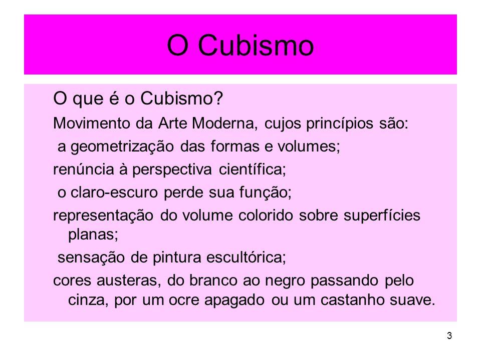 O Cubismo O que é o Cubismo? Movimento da Arte Moderna, cujos princípios são: a geometrização das formas e volumes; renúncia à perspectiva científica;