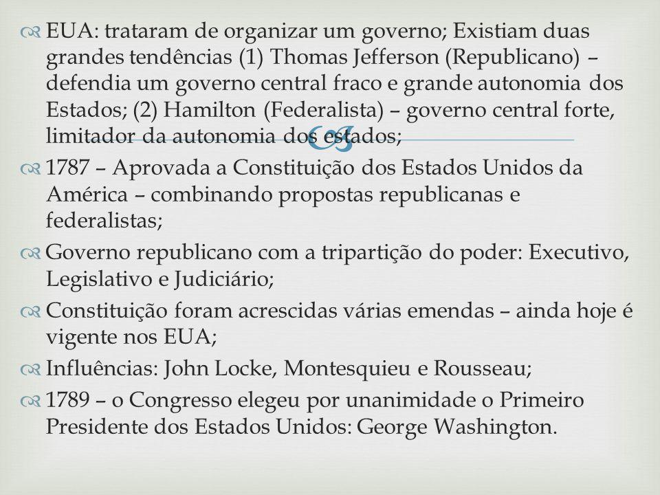 EUA: trataram de organizar um governo; Existiam duas grandes tendências (1) Thomas Jefferson (Republicano) – defendia um governo central fraco e grand