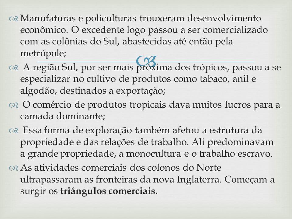 Manufaturas e policulturas trouxeram desenvolvimento econômico. O excedente logo passou a ser comercializado com as colônias do Sul, abastecidas até e