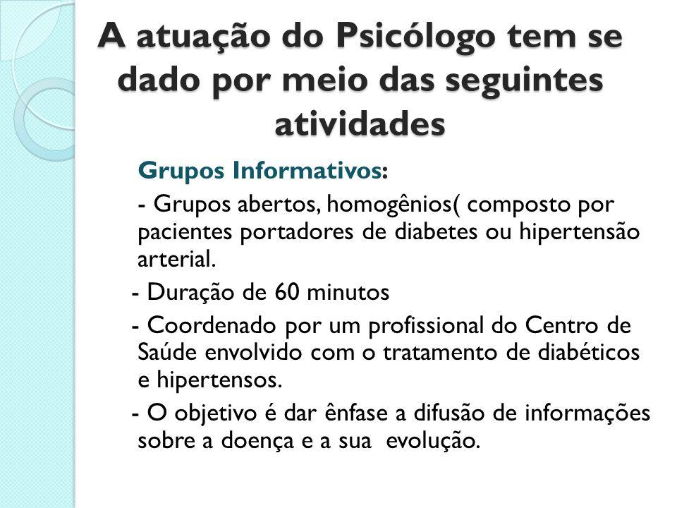 A atuação do Psicólogo tem se dado por meio das seguintes atividades Grupos Informativos: - Grupos abertos, homogênios( composto por pacientes portado