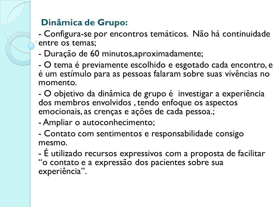 Dinâmica de Grupo: - Configura-se por encontros temáticos. Não há continuidade entre os temas; - Duração de 60 minutos,aproximadamente; - O tema é pre