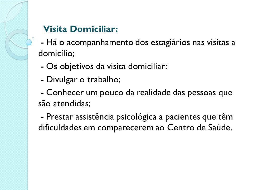 Visita Domiciliar: - Há o acompanhamento dos estagiários nas visitas a domicílio; - Os objetivos da visita domiciliar: - Divulgar o trabalho; - Conhec