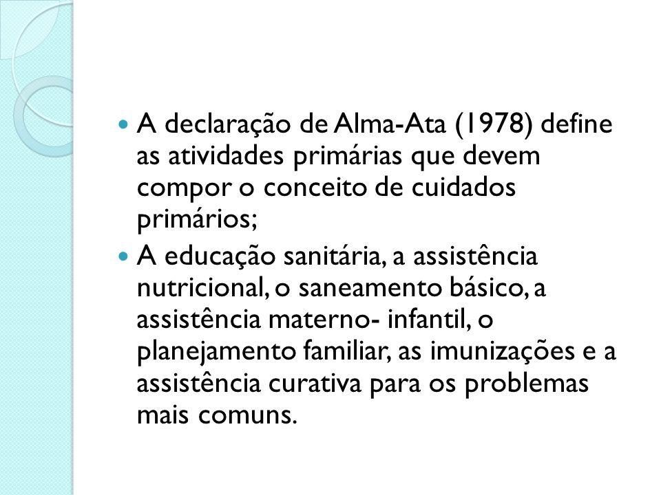 A declaração de Alma-Ata (1978) define as atividades primárias que devem compor o conceito de cuidados primários; A educação sanitária, a assistência