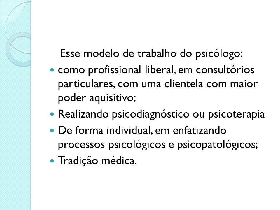 Esse modelo de trabalho do psicólogo: como profissional liberal, em consultórios particulares, com uma clientela com maior poder aquisitivo; Realizand