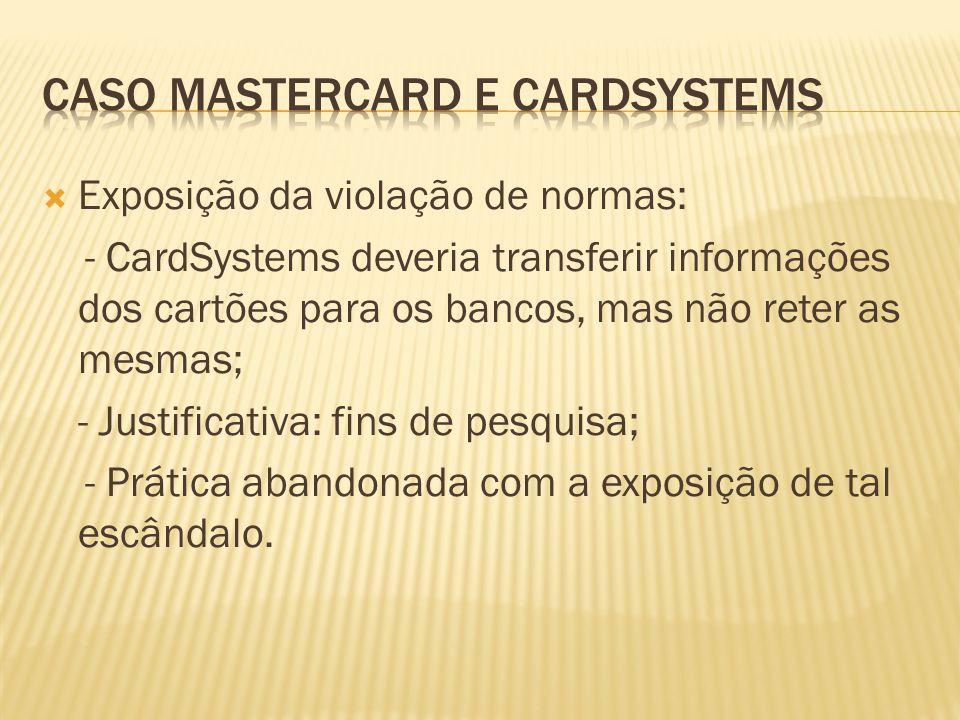 Exposição da violação de normas: - CardSystems deveria transferir informações dos cartões para os bancos, mas não reter as mesmas; - Justificativa: fi
