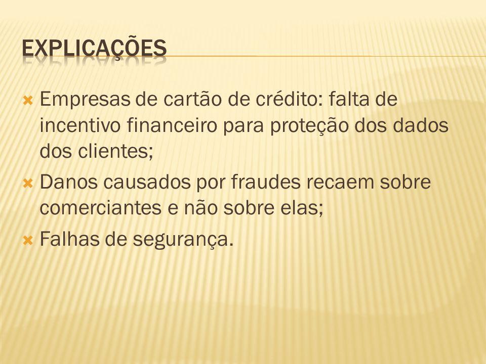 Empresas de cartão de crédito: falta de incentivo financeiro para proteção dos dados dos clientes; Danos causados por fraudes recaem sobre comerciante