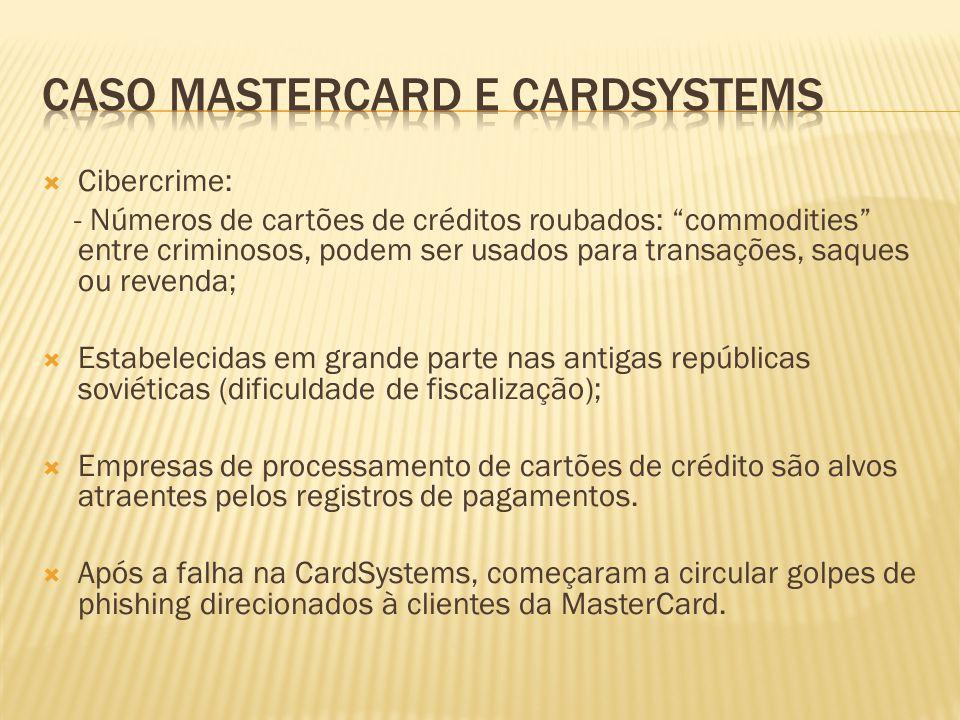 Cibercrime: - Números de cartões de créditos roubados: commodities entre criminosos, podem ser usados para transações, saques ou revenda; Estabelecida
