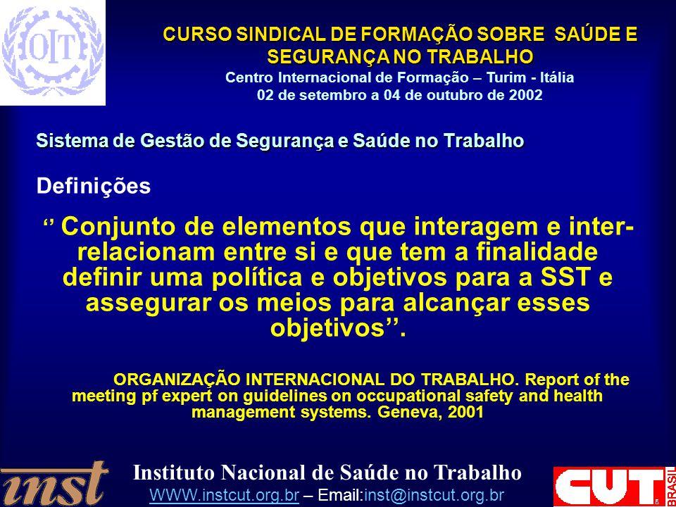 Instituto Nacional de Saúde no Trabalho WWW.instcut.org.brWWW.instcut.org.br – Email:inst@instcut.org.br CURSO SINDICAL DE FORMAÇÃO SOBRE SAÚDE E SEGU
