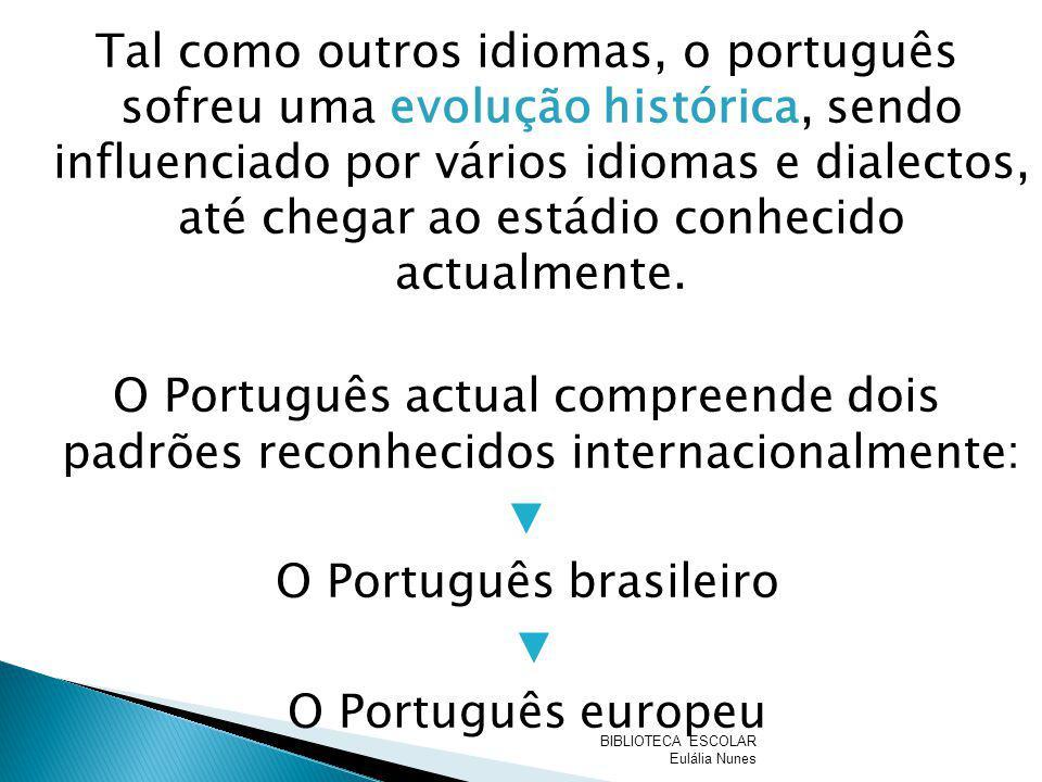 Tal como outros idiomas, o português sofreu uma evolução histórica, sendo influenciado por vários idiomas e dialectos, até chegar ao estádio conhecido