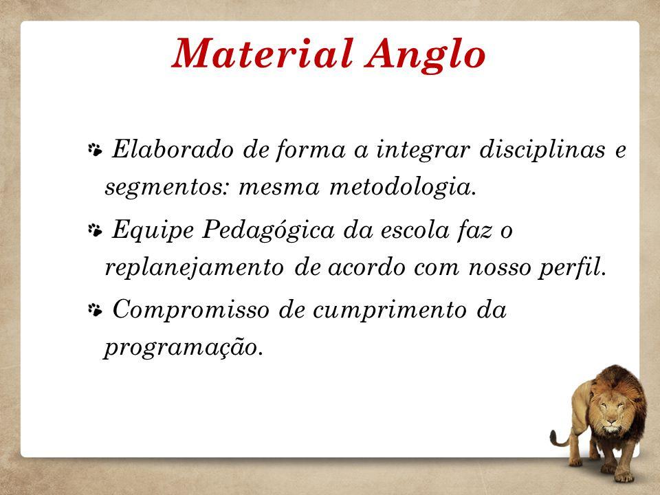 Material Anglo Elaborado de forma a integrar disciplinas e segmentos: mesma metodologia. Equipe Pedagógica da escola faz o replanejamento de acordo co