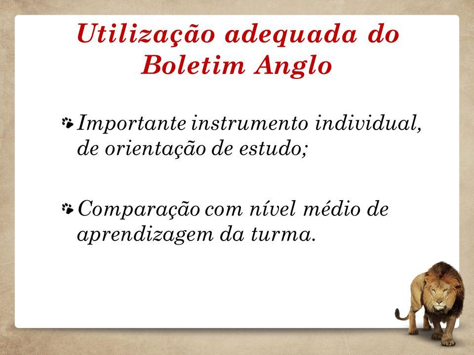 Utilização adequada do Boletim Anglo Importante instrumento individual, de orientação de estudo; Comparação com nível médio de aprendizagem da turma.