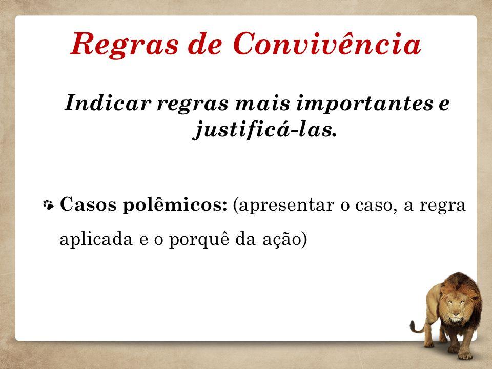 Regras de Convivência Indicar regras mais importantes e justificá-las. Casos polêmicos: (apresentar o caso, a regra aplicada e o porquê da ação)