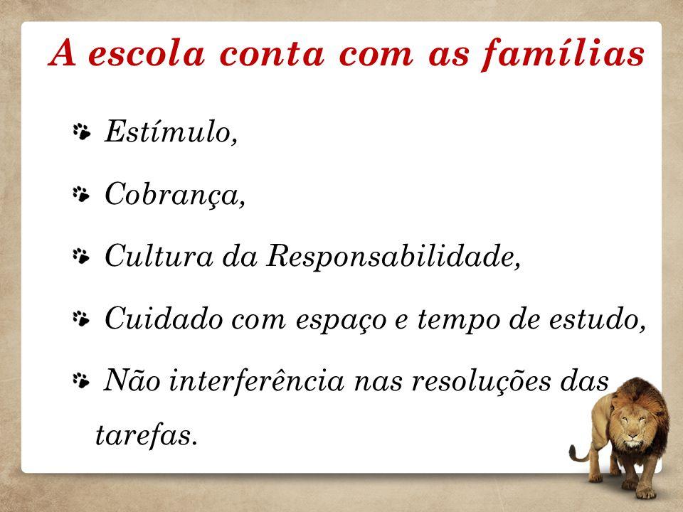 A escola conta com as famílias Estímulo, Cobrança, Cultura da Responsabilidade, Cuidado com espaço e tempo de estudo, Não interferência nas resoluções