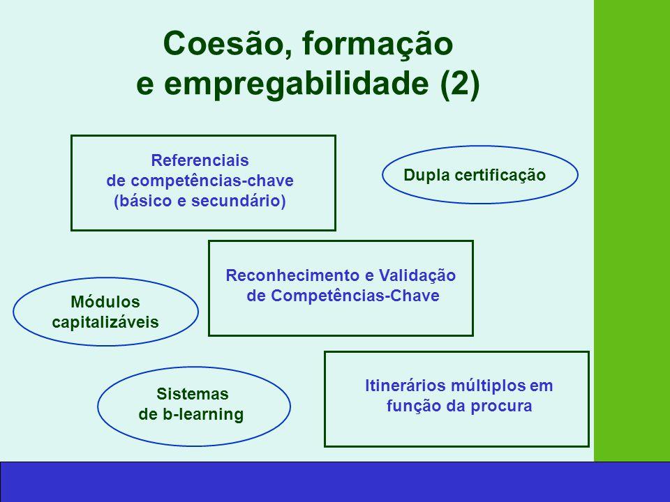 Coesão, formação e empregabilidade (2) Referenciais de competências-chave (básico e secundário) Dupla certificação Reconhecimento e Validação de Competências-Chave Módulos capitalizáveis Sistemas de b-learning Itinerários múltiplos em função da procura