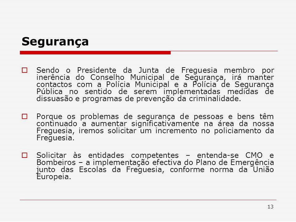 13 Segurança Sendo o Presidente da Junta de Freguesia membro por inerência do Conselho Municipal de Segurança, irá manter contactos com a Polícia Municipal e a Polícia de Segurança Pública no sentido de serem implementadas medidas de dissuasão e programas de prevenção da criminalidade.