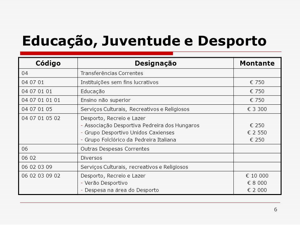 7 Saúde e Toxicodependência Envidar os necessários esforços, junto das instâncias competentes para que exista, em Caxias, uma Extensão do Centro de Saúde de Paço de Arcos.