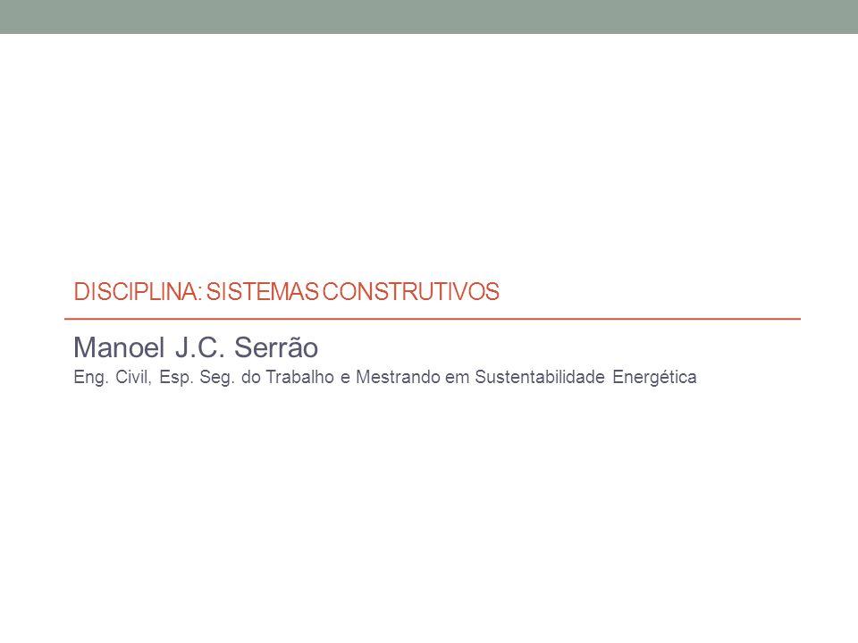 DISCIPLINA: SISTEMAS CONSTRUTIVOS Manoel J.C.Serrão Eng.