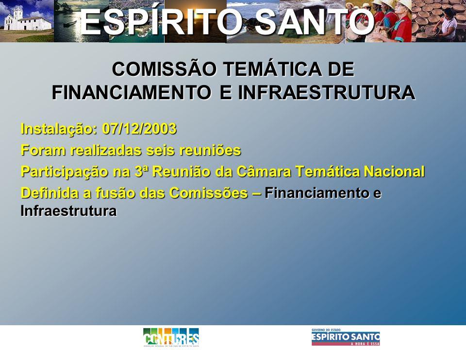 ESPÍRITO SANTO Instalação: 07/12/2003 Foram realizadas seis reuniões Participação na 3ª Reunião da Câmara Temática Nacional Definida a fusão das Comis