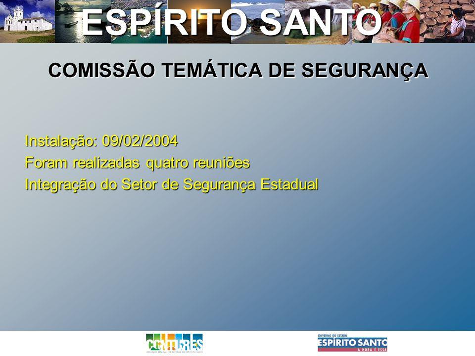 ESPÍRITO SANTO Instalação: 09/02/2004 Foram realizadas quatro reuniões Integração do Setor de Segurança Estadual COMISSÃO TEMÁTICA DE SEGURANÇA